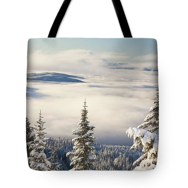 Winter Landscape With Clouds And Tote Bag by Craig Tuttle