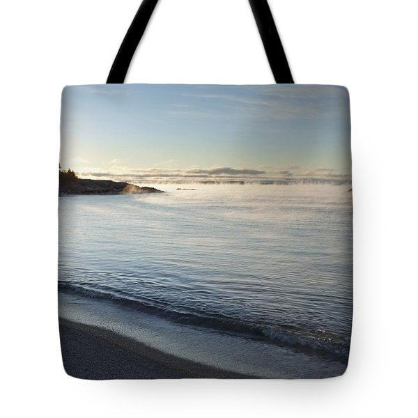 Winter Mist On Lake Superior At Sunrise Tote Bag by Susan Dykstra