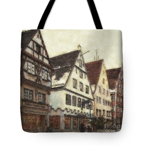 Winterly Old Town Tote Bag by Jutta Maria Pusl