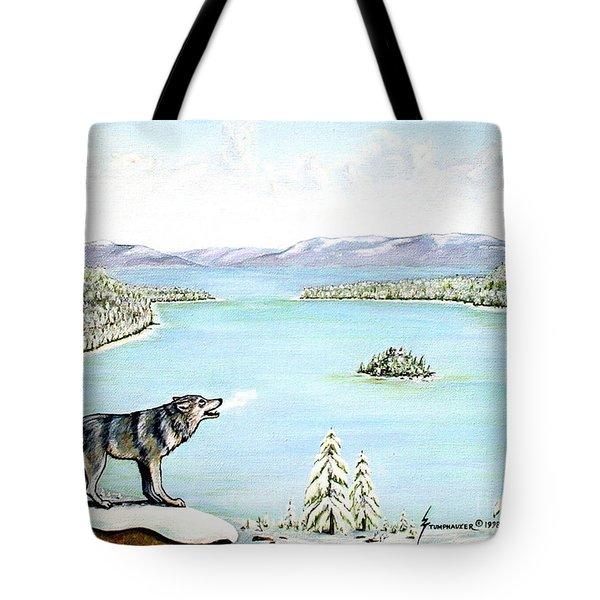 Wolf At Lake Tahoe Tote Bag by Jerome Stumphauzer
