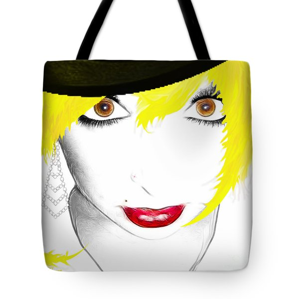 Woman 13-2 cropped square Tote Bag by Cheryl Young
