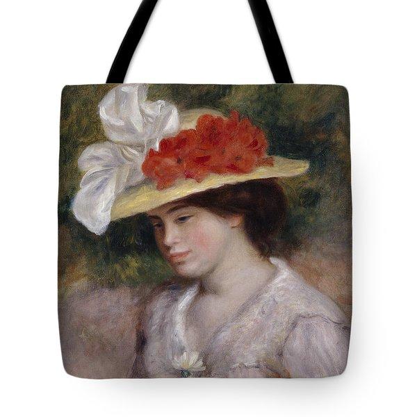 Woman In A Flowered Hat Tote Bag by Pierre Auguste Renoir