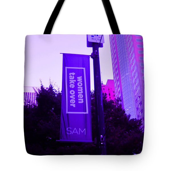 Woman Take Over In Purple Tote Bag by Kym Backland