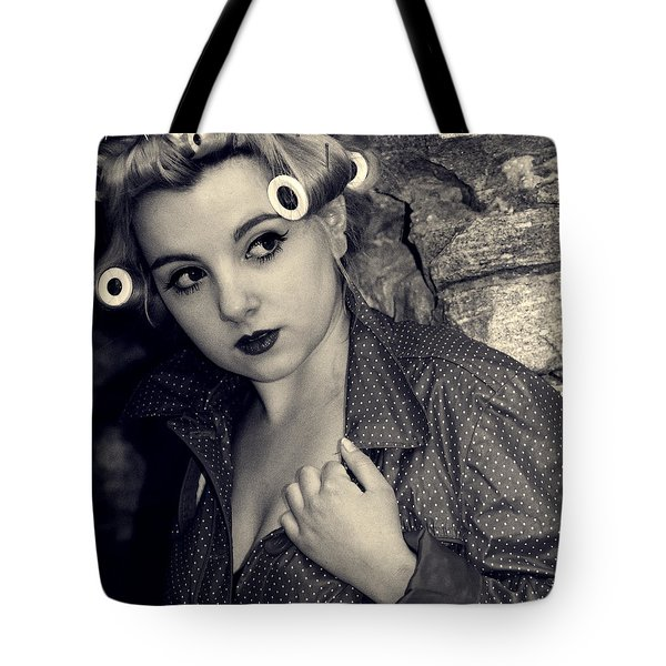 Woman Wearing Curlers And A Raincoat Tote Bag by Joana Kruse