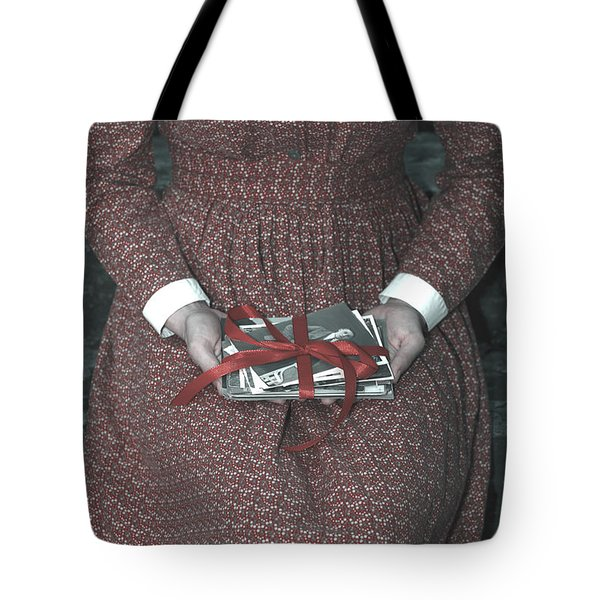Woman With Old Photos Tote Bag by Joana Kruse