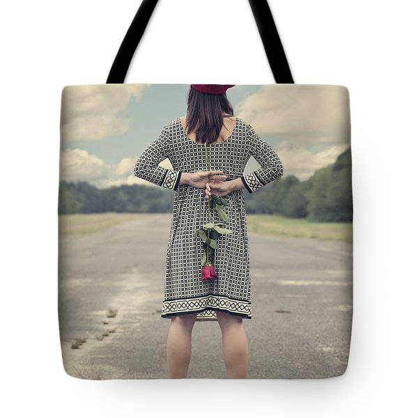 Woman With Red Rose Tote Bag by Joana Kruse