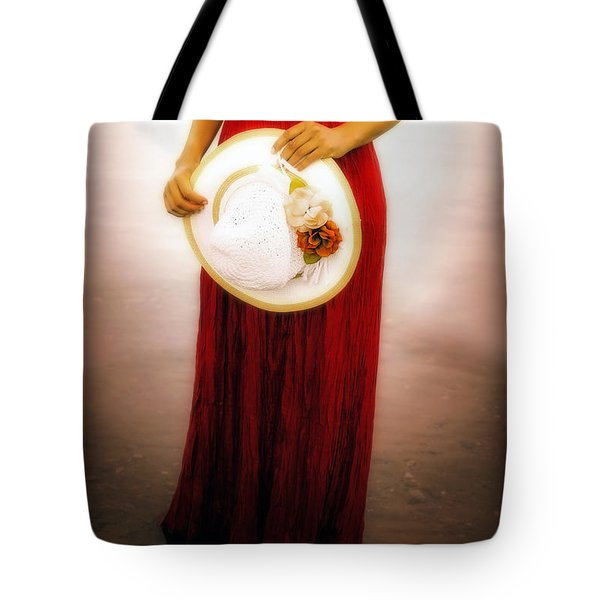 Woman With Straw Hat Tote Bag by Joana Kruse