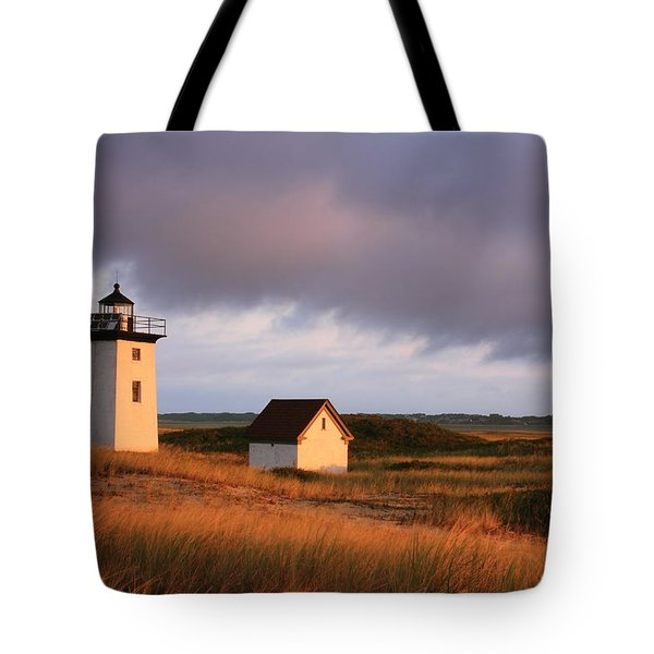 Wood End Lighthouse Landscape Tote Bag by Roupen  Baker