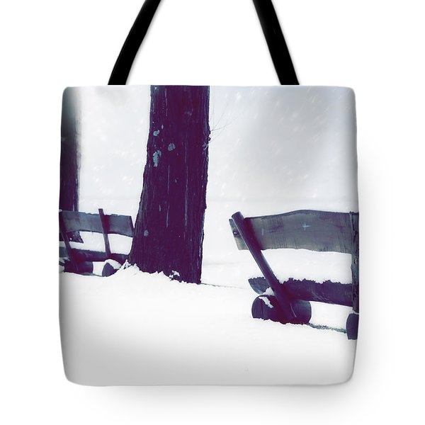 Wooden Benches In Snow Tote Bag by Joana Kruse
