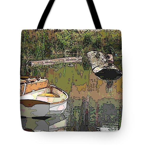 Wooden Boat Placid Tote Bag by Tim Allen