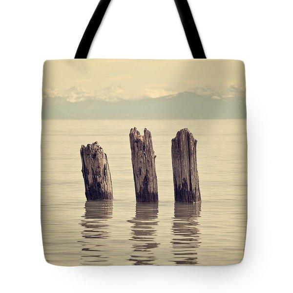 Wooden Piles Tote Bag by Joana Kruse