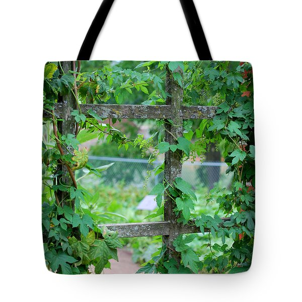 Wooden Trellis and Vines Tote Bag by Nancy Mueller