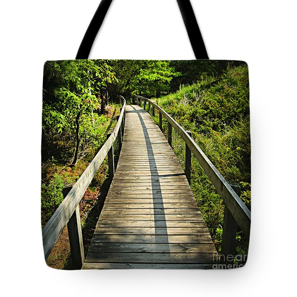 Wooden Walkway Through Forest Tote Bag by Elena Elisseeva