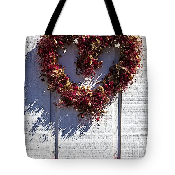 Wreath Heart On Wood Wall Tote Bag by Garry Gay