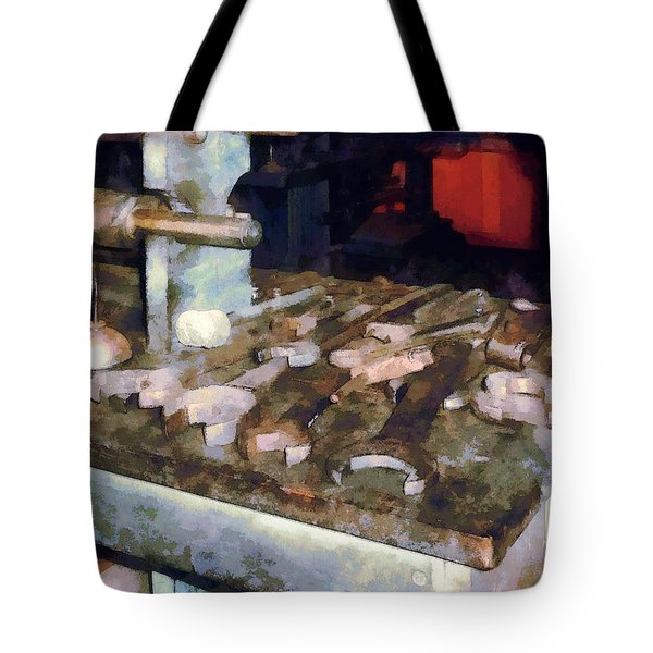 Wrenches And Oil Can Tote Bag by Susan Savad