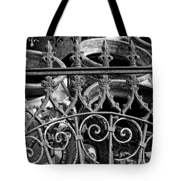 Wrought Iron Gate And Pots Black And White Tote Bag by Kathleen K Parker