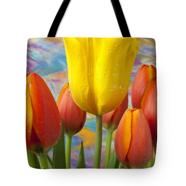 Yellow And Orange Tulips Tote Bag by Garry Gay