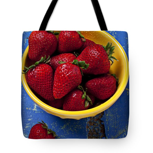 Yellow bowl of strawberries Tote Bag by Garry Gay