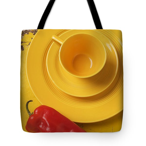 Yellow Cup And Plate Tote Bag by Garry Gay