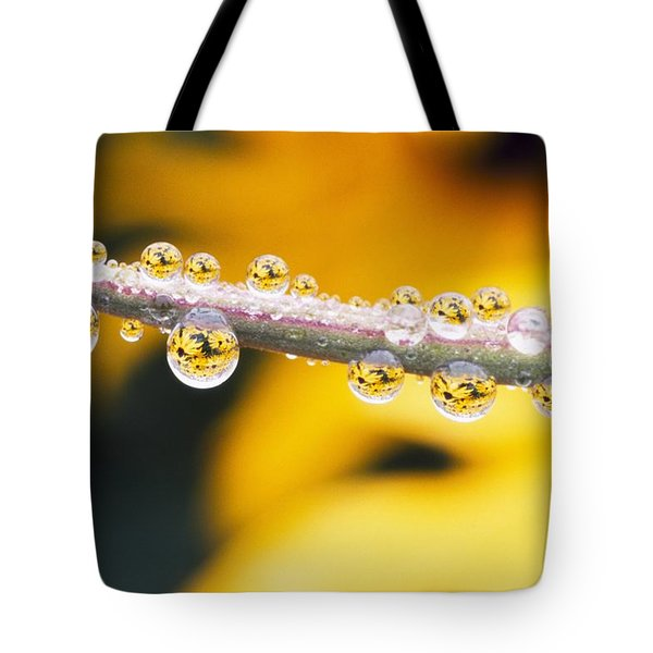 Yellow Flowers Reflected In Dew Drops Tote Bag by Natural Selection Craig Tuttle