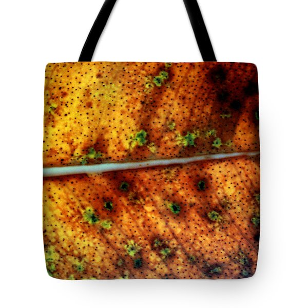 Yellow Leaf With Green Spots And Black Dots Tote Bag by Jennifer  Bright