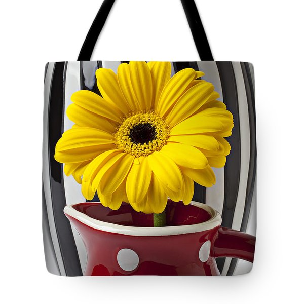Yellow mum in pitcher  Tote Bag by Garry Gay