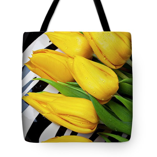 Yellow Tulips On Striped Plate Tote Bag by Garry Gay