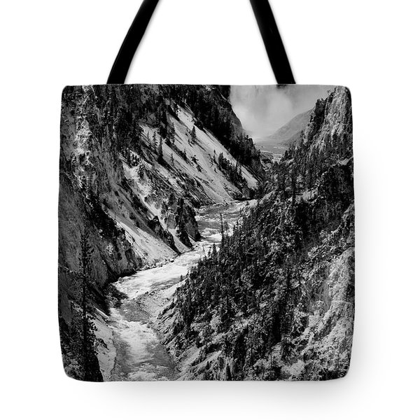 Yellowstone Waterfalls In Black And White Tote Bag by Sebastian Musial