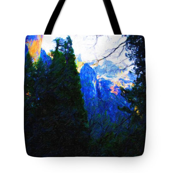 Yosemite Snow Mountain Tops . Vertical Cut Tote Bag by Wingsdomain Art and Photography