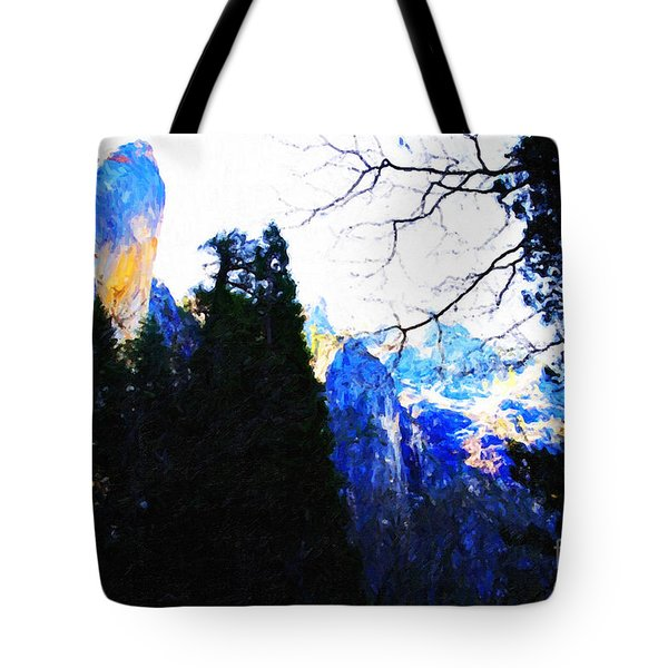 Yosemite Snow Top Mountains Tote Bag by Wingsdomain Art and Photography