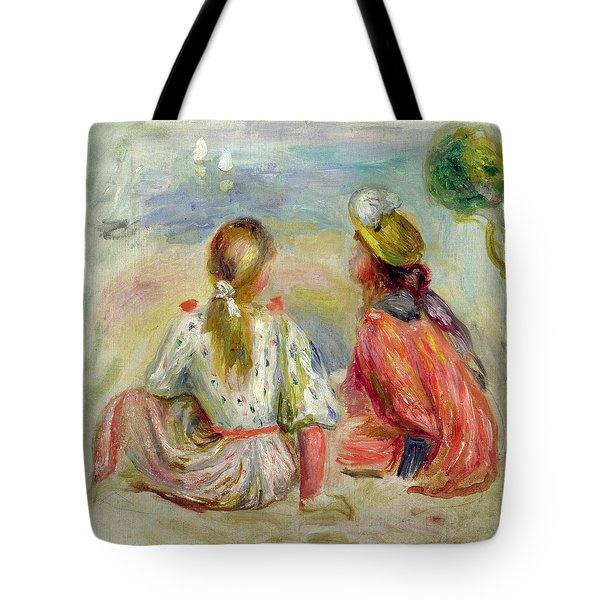 Young Girls On The Beach Tote Bag by Pierre Auguste Renoir