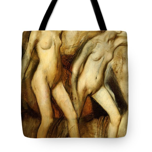 Young Spartan Girls Provoking The Boys Tote Bag by Edgar Degas