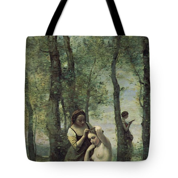 Young Woman At Her Toilet Tote Bag by Jean Baptiste Camille Corot