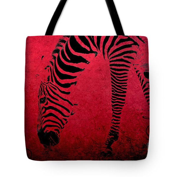Zebra On Red Tote Bag by Aimelle