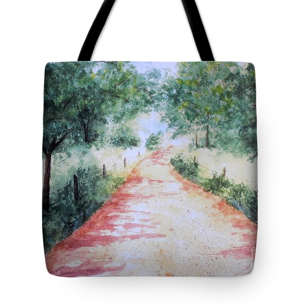 A Country Road Tote Bag by Vicki  Housel