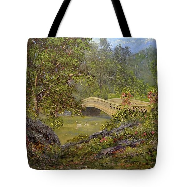 Bow Bridge Central Park Tote Bag by Michael Mrozik