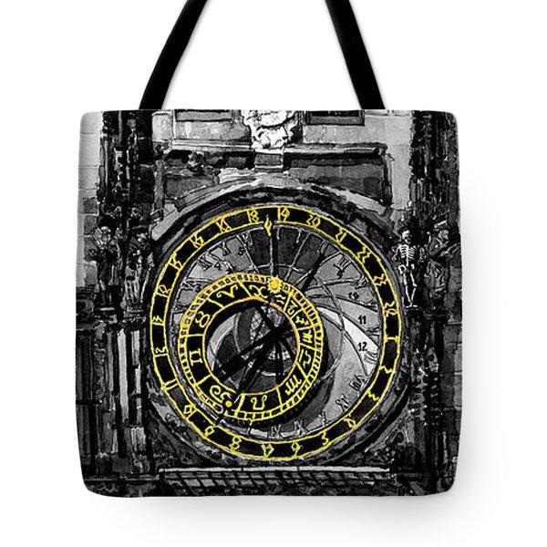 Bw Prague The Horologue At Oldtownhall Tote Bag by Yuriy  Shevchuk