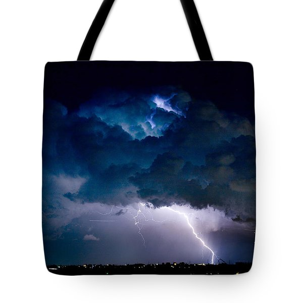 Clouds of Light Lightning Striking Boulder County Colorado Tote Bag by James BO  Insogna