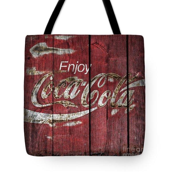 Coca Cola Sign Barn Wood Tote Bag by John Stephens