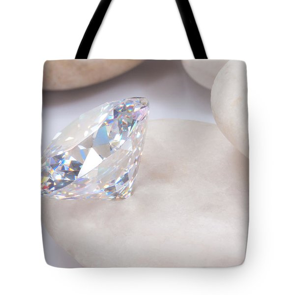 diamond on white stone Tote Bag by ATIKETTA SANGASAENG