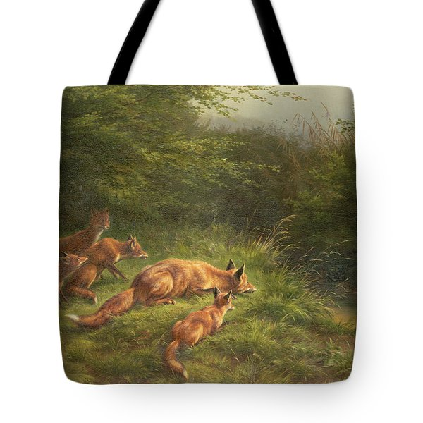Foxes Waiting For The Prey   Tote Bag by Carl Friedrich Deiker
