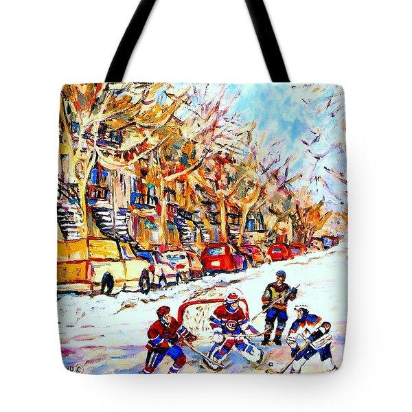 HOCKEY GAME ON COLONIAL STREET  NEAR ROY MONTREAL CITY SCENE Tote Bag by CAROLE SPANDAU