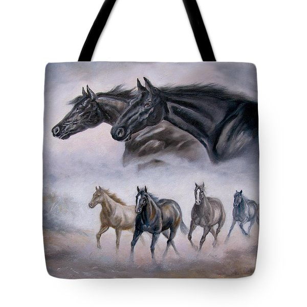 Horse Painting Distant Thunder Tote Bag by Gina Femrite