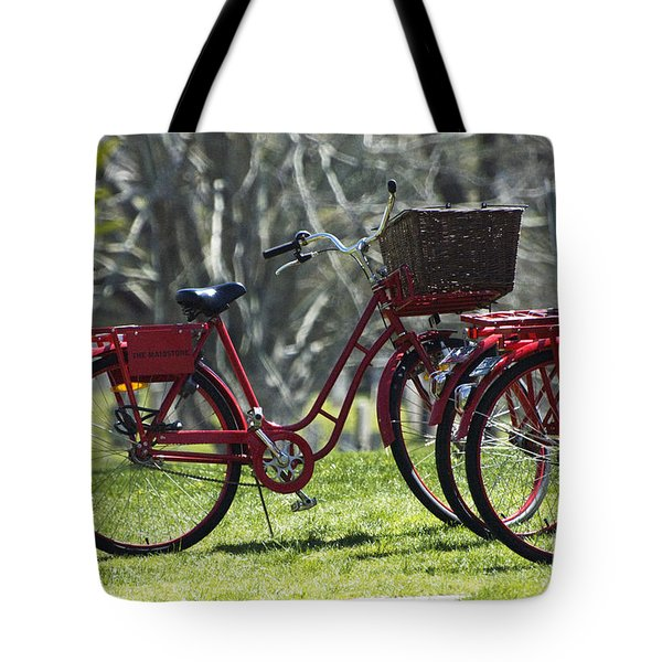 Red Bicycle in the Country Tote Bag by Anahi DeCanio