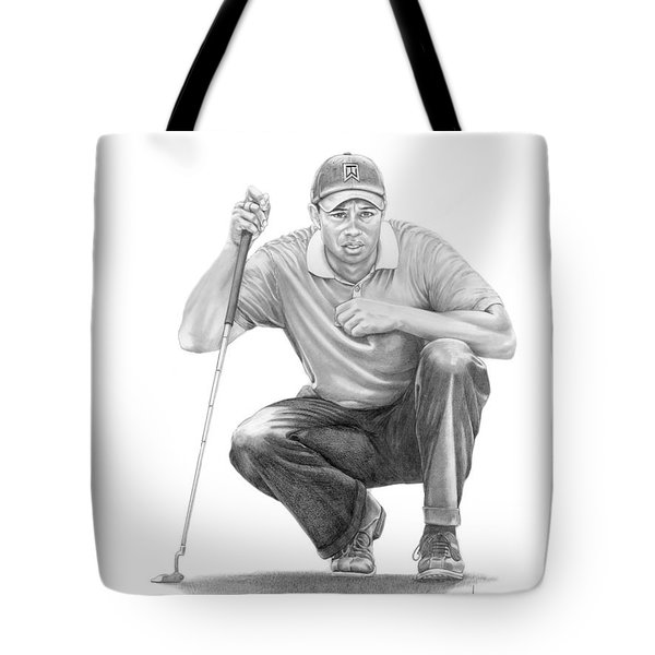 Tiger Woods Crouching Tiger Tote Bag by Murphy Elliott