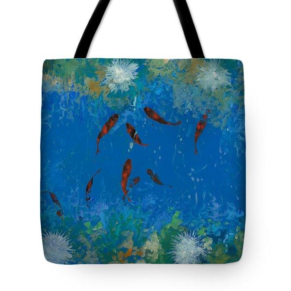 9 pesciolini rossi Tote Bag by Guido Borelli
