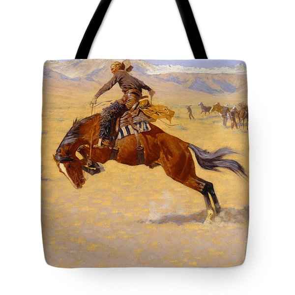 A Cold Morning On The Range Tote Bag by Frederic Remington
