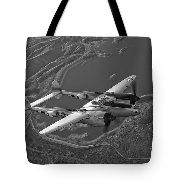 A Lockheed P-38 Lightning Fighter Tote Bag by Scott Germain