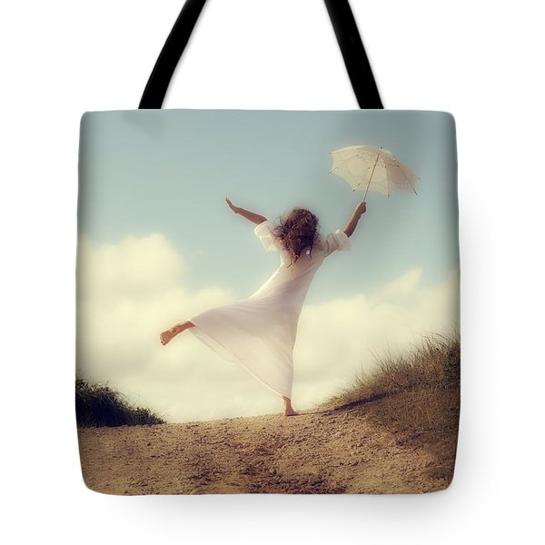 Angel With Parasol Tote Bag by Joana Kruse