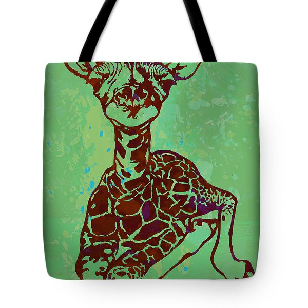 Baby Giraffe - Pop Modern Etching Art Poster Tote Bag by Kim Wang